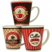 Porz.Kaffeebecher Checker+Stripes Design 12x10cm
