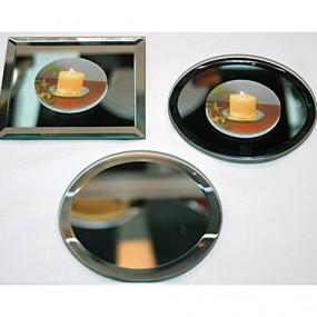 GlasSpiegelKerzenteller XL 13cm, sortiert