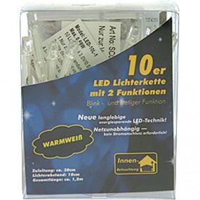 LED Lichterkette 10er warm weiss, für innen mit