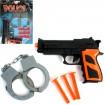 Pistolen Set 5-tlg. Handschellen + 3 Saugpfeile