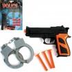 Pistolen Set Polizei, 5 Teile auf Karte 29x13cm