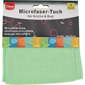 Microfaser Tuch CLEAN 2er Küche &Bad 30x30cm grün