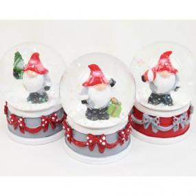 Echtglas Schneekugel Santa 6,5x5x5cm,3fach sort