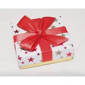 Geschenkbox 10x10x3.4cm, mit Metallicsternen