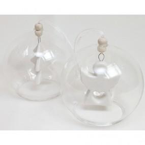 Glaskugel mit weißem Porzellanhänger 8x8cm