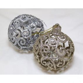 Kunststoff Baumkugel je 8cm, gold oder silber