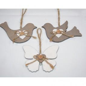 Holzaufhänger Vogel o. Schmetterling XL 12x10cm