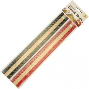 Lineal Holz 30cm 2er-Set , m.farbigen Zahlenrand