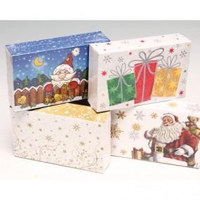 Geschenkbox 'Glitterdruck' 16x10x4cm 4-fach sort