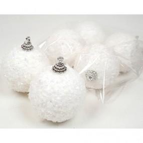Schneekugeln je 5cm 6er Set, m. Glitter, Polyfoam