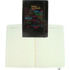 Notizbuch A5 50 Seiten liniert , scwarz mit Druck